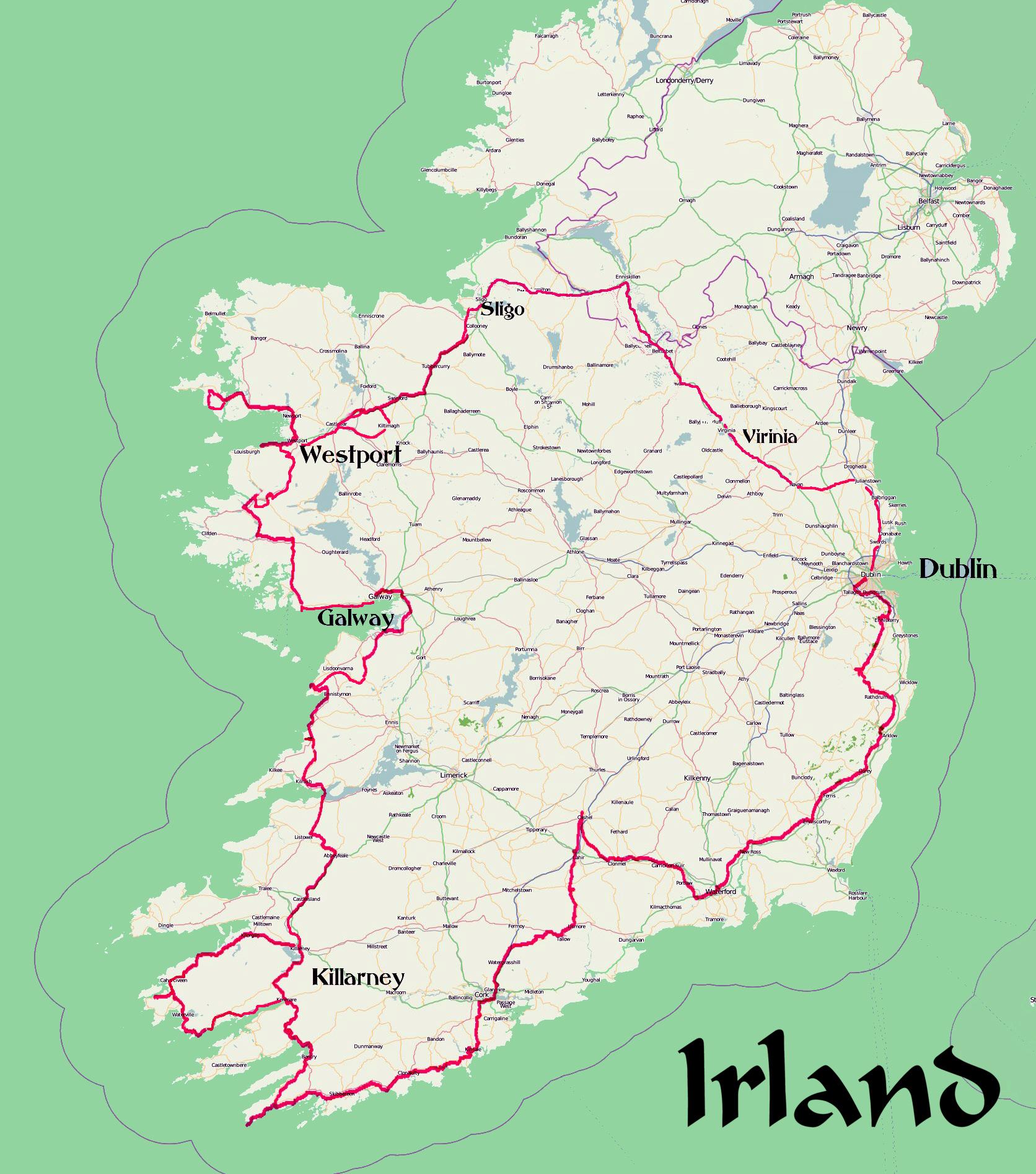 karte sehenswürdigkeiten irland Karte Irland Rundreise mit GPS Daten